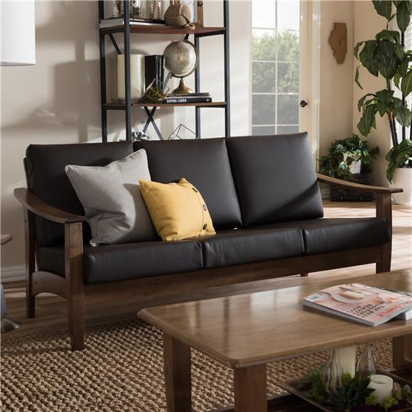 Solid Rubber Wood - Brown Faux Leather Sofa