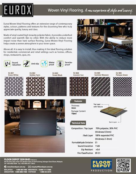 Sound Reduction on Invaber - Eurox Woven Vinyl Flooring, Resistant