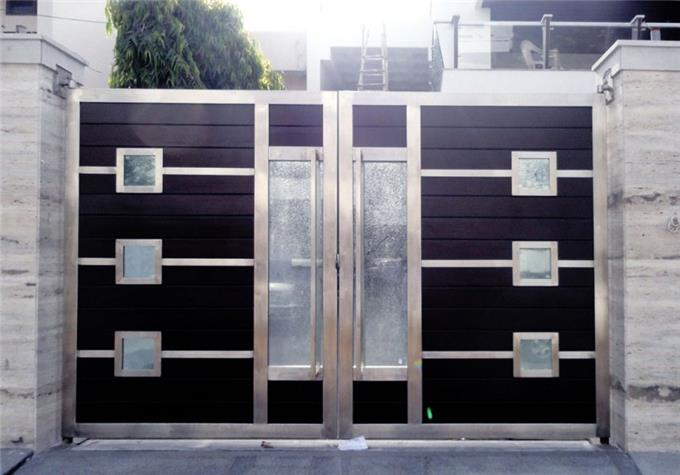 Aluminium Wood Color On Invaber Stainless Steel Main Gate Design
